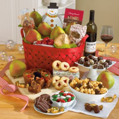 <span style=color:#bb0011>NEW</span> Christmas Gift Basket Deluxe with Wine