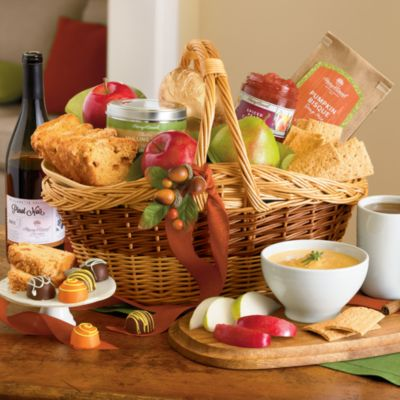 <span style=color:#bb0011>NEW</span> Harvest Gift Basket with Wine