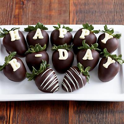 Happy Birthday Hand-Dipped Chocolate-Covered Strawberries - One Dozen