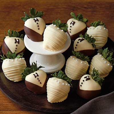 Bride and Groom Hand-Dipped Chocolate-Covered Strawberries - One Dozen