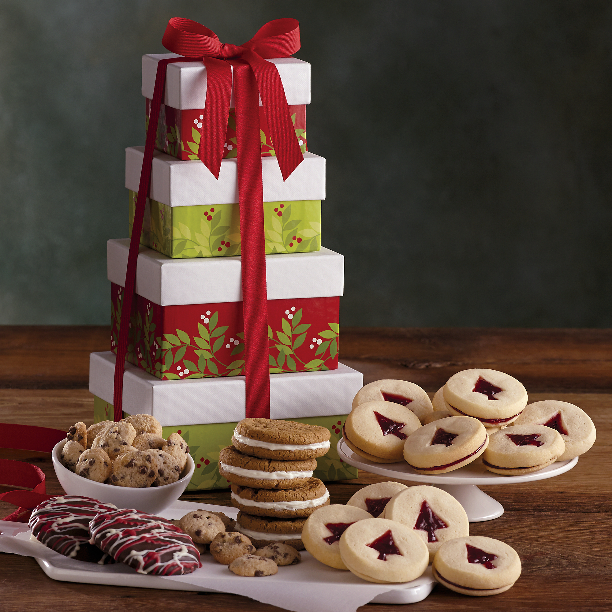 Tower Of Holiday Cookies Holiday Gifts Gourmet Food Gifts