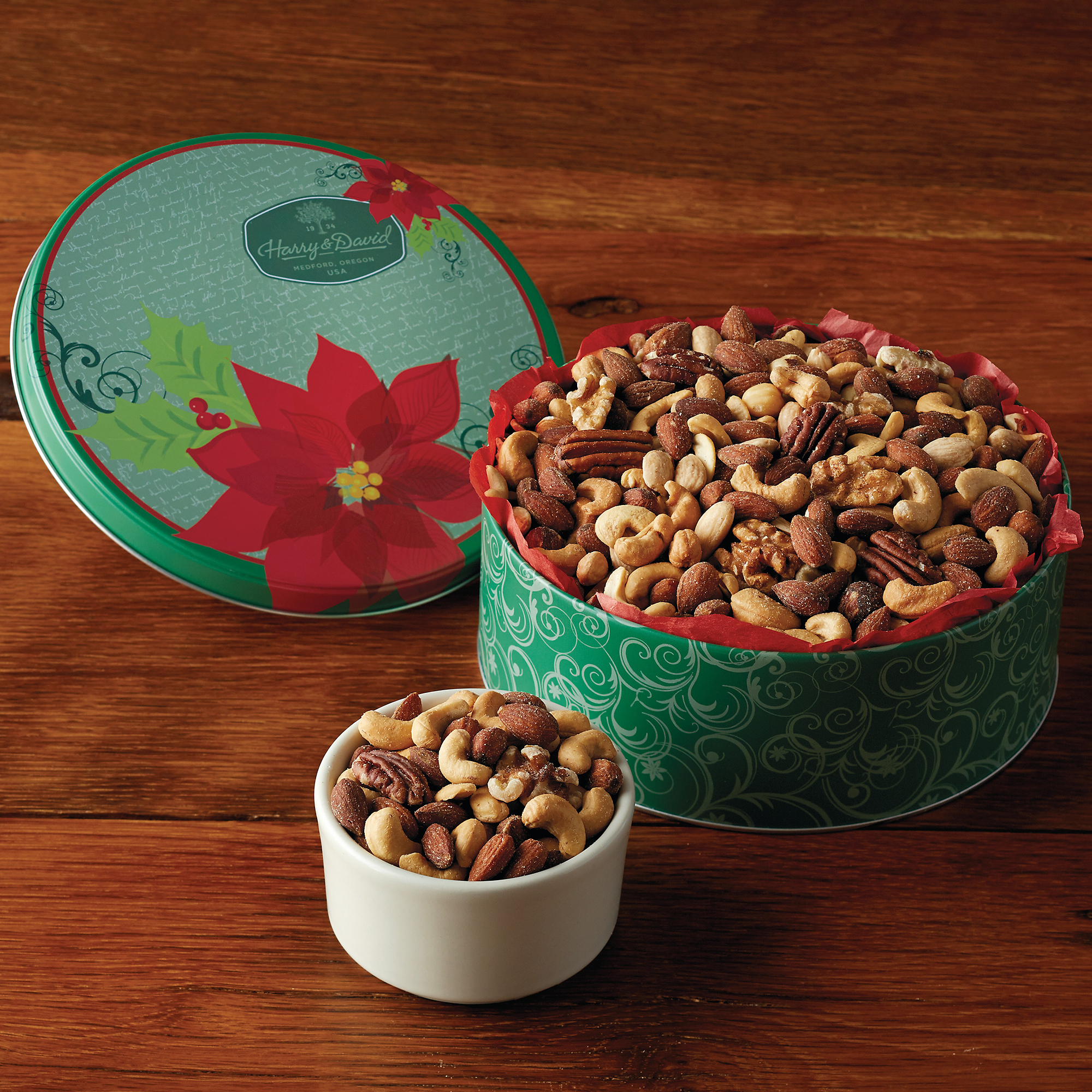 Holiday Mixed Nuts Gift Tin | Gourmet Nut Gifts | Harry ...