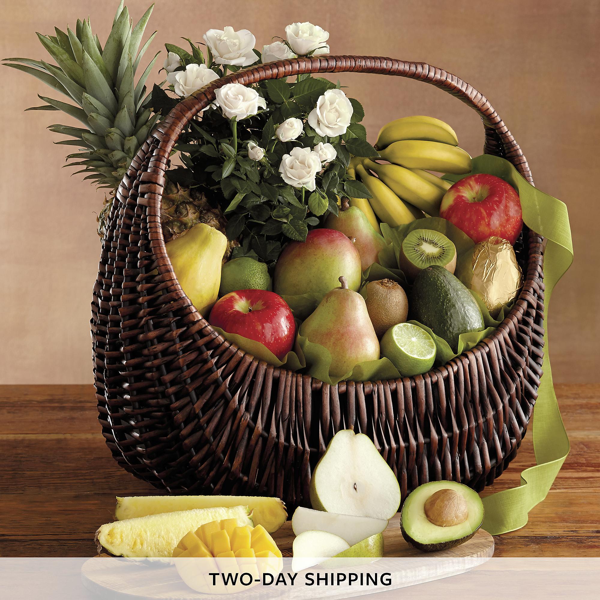 Flower Arrangements Gift Baskets : Flowers and fruit gift basket baskets harry david