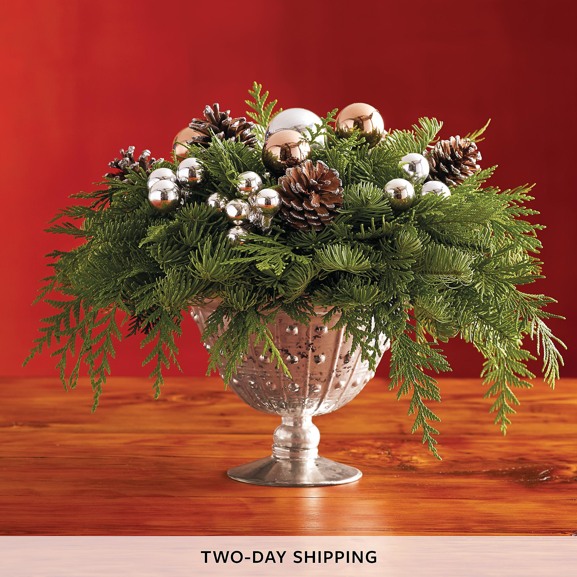 Silver Compote Centerpiece Elegant Christmas Centerpieces
