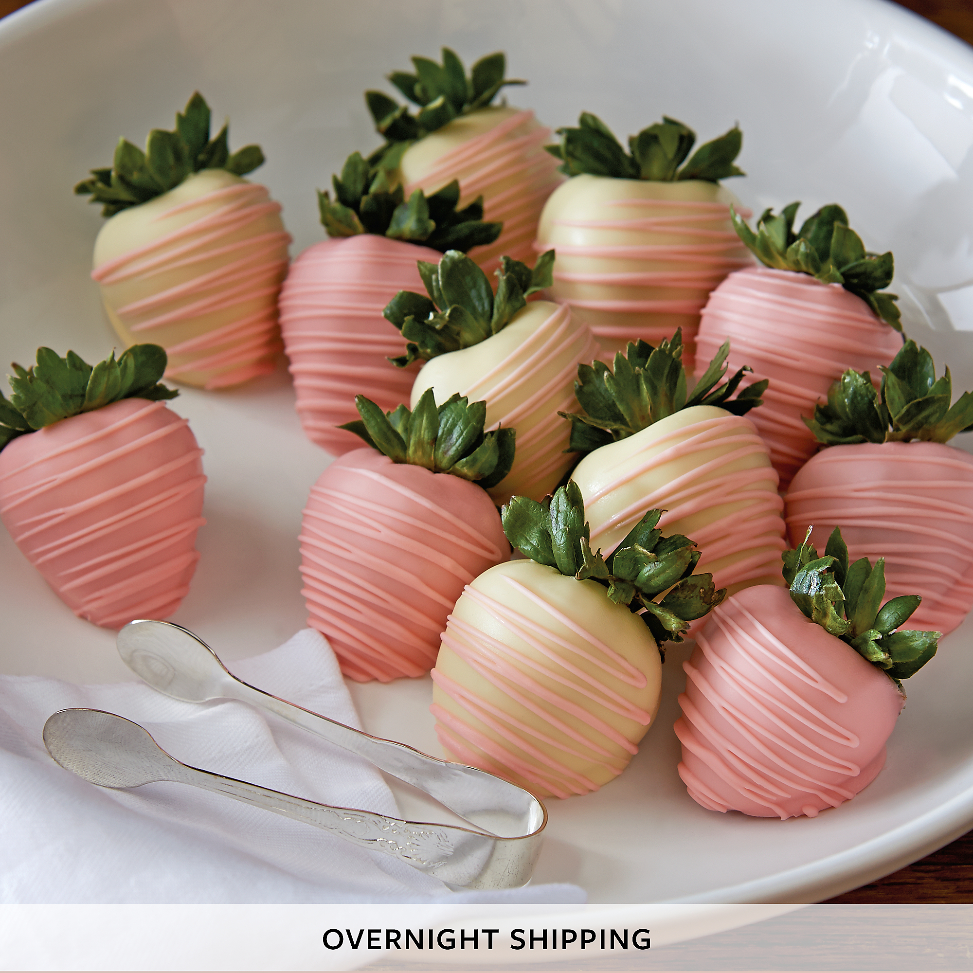 Pink and White Hand-Dipped Chocolate-Covered Strawberries - One Dozen