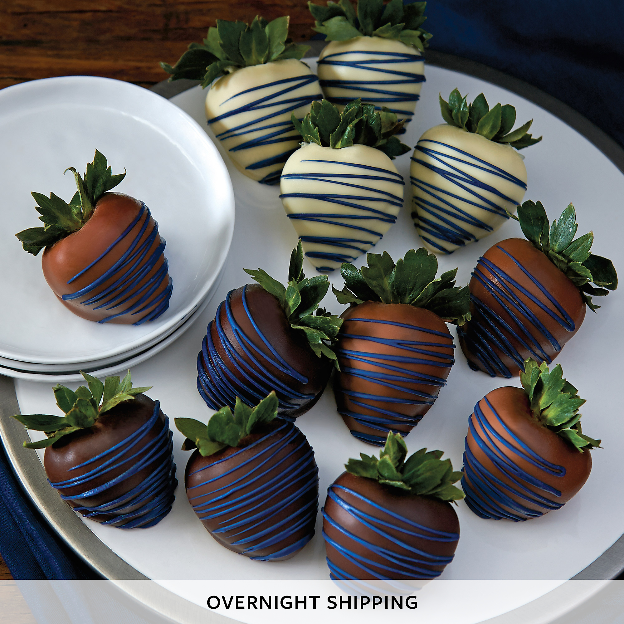 Blue Drizzle Hand-Dipped Chocolate-Covered Strawberries - One Dozen