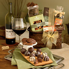 <span style=color:#bb0011>NEW</span> Chocolate Gift Basket with Wine