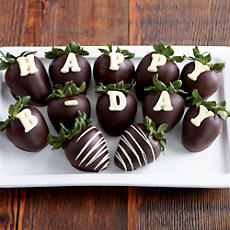 NEW Happy Birthday Belgian Chocolate Covered Strawberries