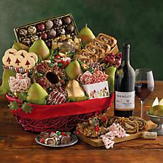 Grand Christmas Gift Basket with Wine
