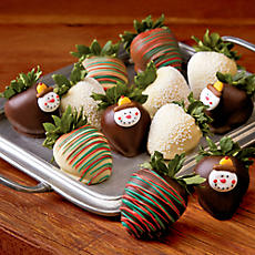 Winter Hand-Dipped Chocolate-Covered Strawberries - One Dozen
