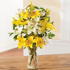 <span style=color:#bb0011>NEW</span> White and Yellow Lily Bouquet