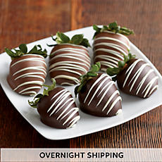 Double Hand-Dipped Chocolate-Covered Strawberries - Half Dozen