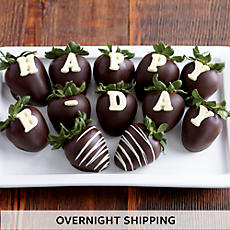 Happy Birthday Hand-Dipped Chocolate-Covered Strawberries - One Dozen