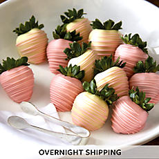 NEW Pink and White Hand Dipped Chocolate Covered Strawberries - One Dozen