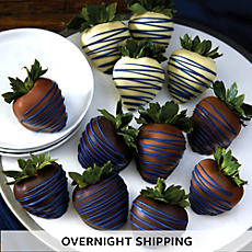 Blue Drizzle Hand Dipped Chocolate Covered Strawberries - One Dozen