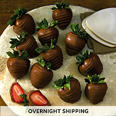 Hand Dipped Milk Chocolate Covered Strawberries - One Dozen