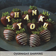 NEW Thank You Hand Dipped Dark Chocolate Covered Strawberries - One Dozen