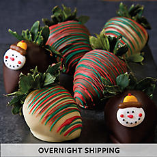 Winter Hand-Dipped Chocolate-Covered Strawberries - Half Dozen