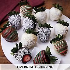 Holiday Hand-Dipped Chocolate-Covered Strawberries - One Dozen