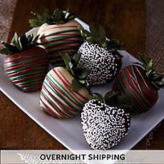 Holiday Hand-Dipped Chocolate-Covered Strawberries - Half Dozen