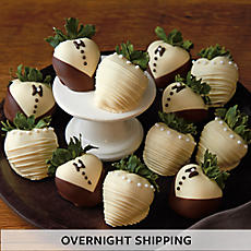 Bride and Groom Hand Dipped Chocolate Covered Strawberries - One Dozen
