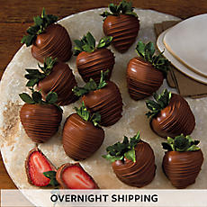 Hand-Dipped Milk Chocolate-Covered Strawberries - One Dozen