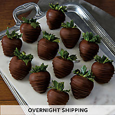 Hand-Dipped Dark Chocolate-Covered Strawberries - One Dozen
