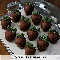 Hand-Dipped Dark Chocolate-Covered Strawberries - One Dozen