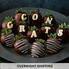 Congrats Hand-Dipped Dark Chocolate-Covered Strawberries - One Dozen