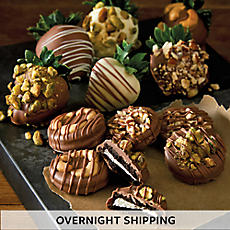 Nut Lover's Hand Dipped Chocolate Covered Strawberries and Sandwich Cookies - Half Dozen Each