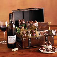 Chocolate Treasure Box with Wine