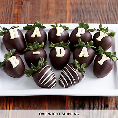 NEW Happy Birthday Hand Dipped Chocolate Covered Strawberries - One Dozen