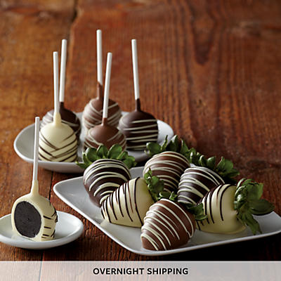 Hand-Dipped Chocolate-Covered Strawberries and Cake Pops - Half Dozen Each