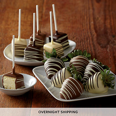 Hand Dipped Chocolate Covered Strawberries and Cheesecake Pops - Half Dozen Each