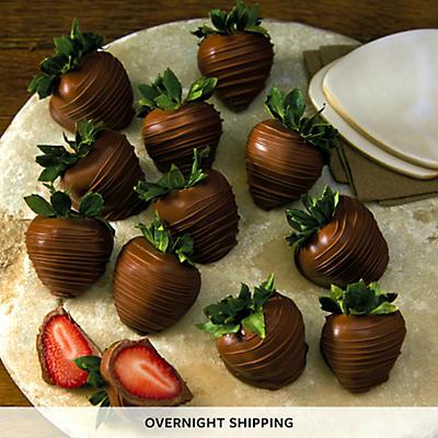 Hand Dipped Milk Chocolate Covered Strawberries - One Dozen