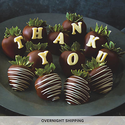 Thank You Hand Dipped Dark Chocolate Covered Strawberries - One Dozen