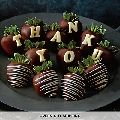 Thank You Hand-Dipped Dark Chocolate-Covered Strawberries - One Dozen