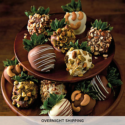 Nut Lover's Hand-Dipped Chocolate-Covered Strawberries - One Dozen