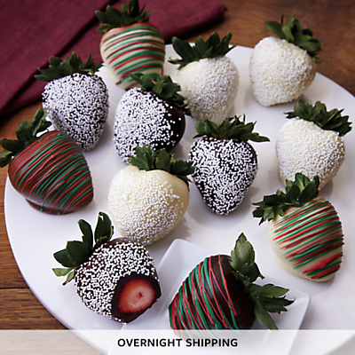 Holiday Hand Dipped Chocolate Covered Strawberries One Dozen