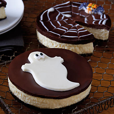 Halloween Ghost and Spiderweb Cheesecakes